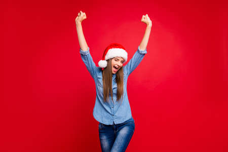 Portrait of nice cheerful funny positive attractive emotional lady in christmas  hati Stock Photo