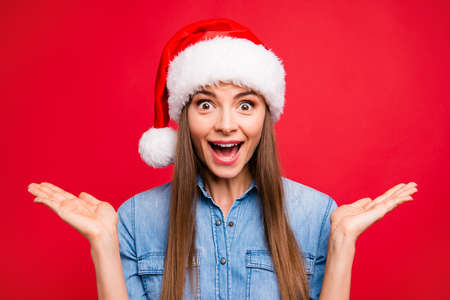 Portrait of nice cute cheerful funny positive attractive emotion Stock Photo