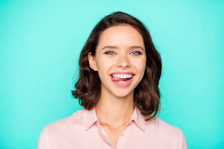 Close-up portrait of cheery cheerful optimistic emotional nice c