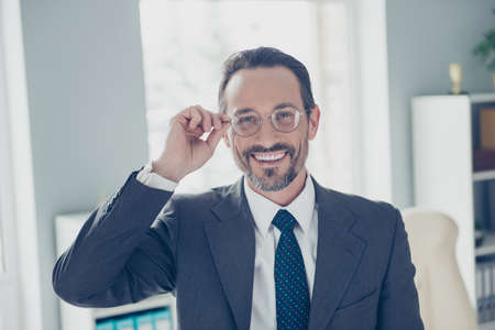 Portrait of trendy style stylish imposing elegant classy chic handsome man in formalwear look at camera correct glassed make beaming smile Foto de archivo - 150050117