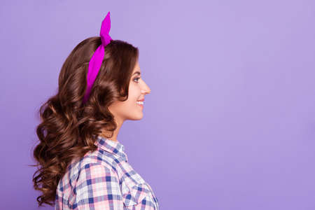 Profile side view portrait of nice minded calm sweet lovely wins