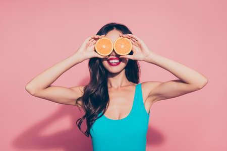 Portrait of cheerful cheery positive girlish playful glamorous a Stock Photo