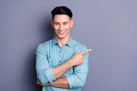 Portrait of nice cute well-groomed attractive cheerful positive Stock fotó