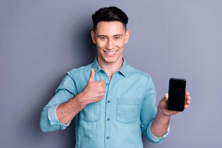 Portrait of nice cheerful glad adorable attractive handsome man Stock Photo