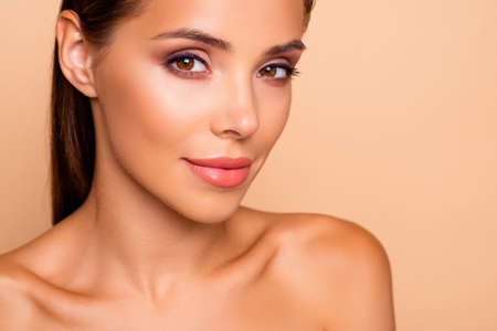 Cropped close up photo of dreamy cute well-groomed charming lady Stock Photo