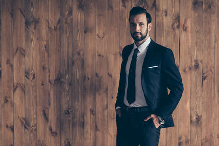 Portrait of nice content classy business shark handsome man guy