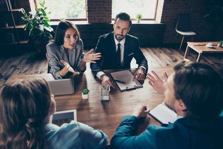 Four stylish elegant focused business sharks executive professio