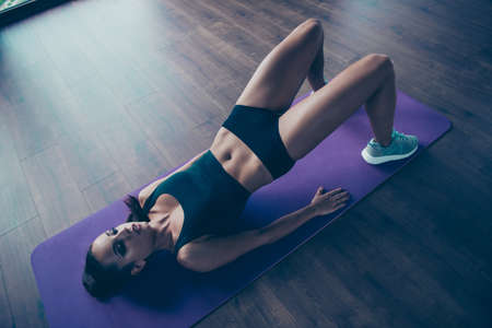 Fitness model lifestyle concept. Top above high angle view of girl
