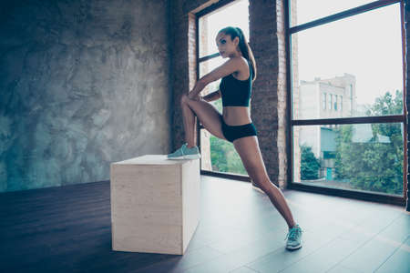 Low angle view of Beautiful sportive girl exercising Stock Photo