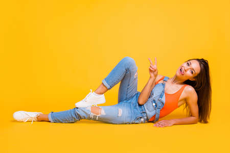 Portrait of nice attractive charming cheerful positive girl wear Stock Photo