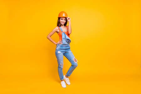 Full length body size of her she nice cute cheerful lovely lady Stock Photo