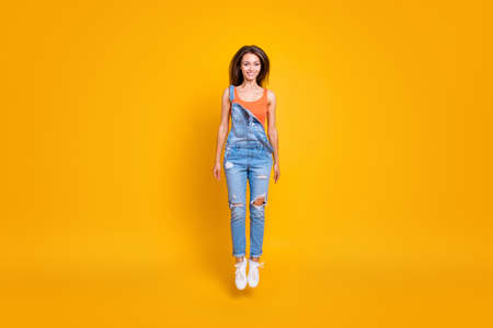 Full length body size portrait of nice cute careless carefree lo Stock Photo