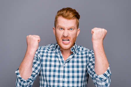 Close-up portrait of nervous mad handsome attractive trendy man Stock Photo