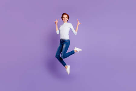 Close up full length size body portrait of jumping high
