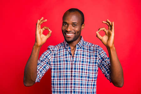 Portrait of nice cool attractive handsome cheerful positive optimistic guy wearing checked shirt showing double two ok-sign isolated over bright vivid shine red background Imagens - 114001622