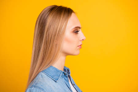 Close-up profile side view portrait of nice calm peaceful attractive lady Stock Photo
