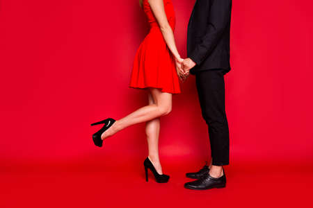 Cropped body legs of two nice elegant imposing trendy luxury stylish couple