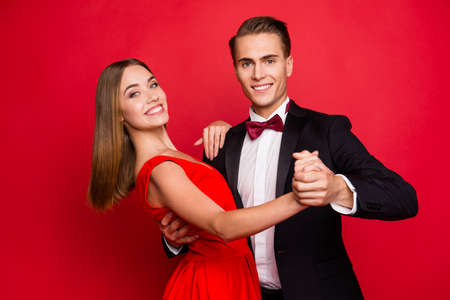 Portrait of two nice sweet lovely attractive adorable gorgeous couple Stock Photo - 117178961