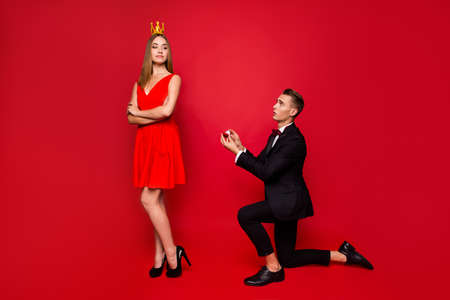 Full length body size portrait of two attractive people
