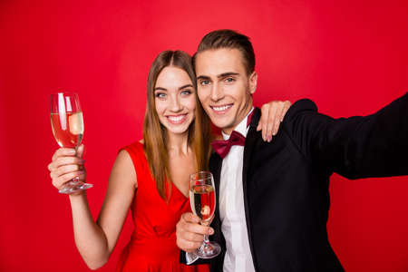 Self-portrait of two nice lovely attractive gorgeous cheerful posing couple Banco de Imagens