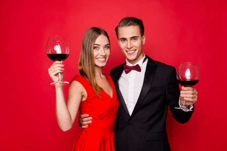 Portrait of two nice lovely attractive charming cheerful positive couple Banco de Imagens