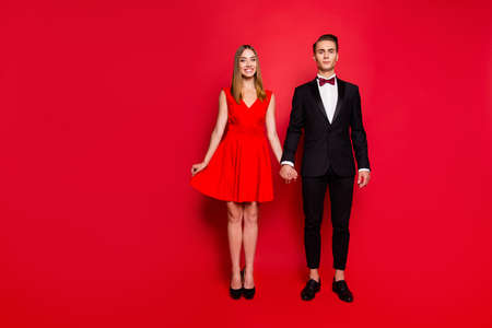 Full length body size portrait of two nice lovely graceful attractive couple