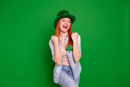 Enjoy denim good luck dreamy people person concept. Photo of cheerful attractive with clover leaf she her lady student gesturing hands isolated bright background