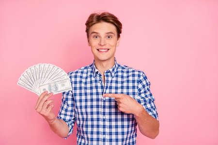 Portrait of handsome man holding money 스톡 콘텐츠