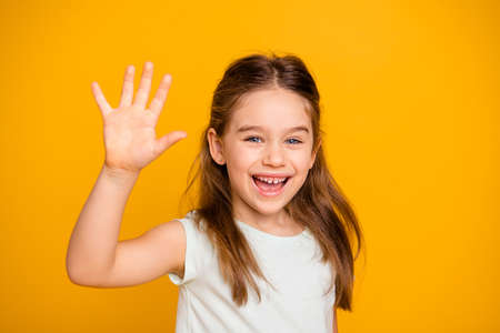 Portrait of her she nice-looking cute attractive lovely pretty cheerful cheery positive pre-teen girl waving hi hello greetings Im here isolated over bright vivid shine yellow background 写真素材