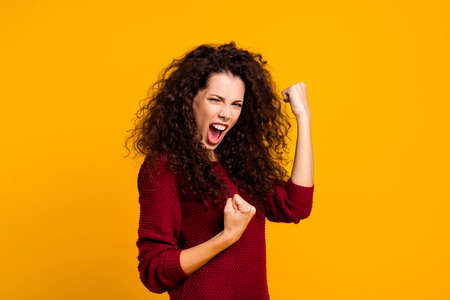 Close up photo amazing beautiful her she lady all possible yelling voice raised fists in delight emotional high spirits mood wearing red knitted sweater clothes outfit isolated yellow background