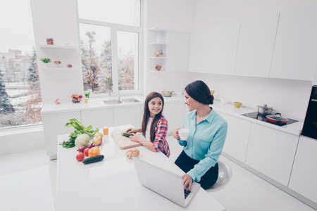 Portrait of two nice cute lovely sweet attractive cheerful cheery people mommy mom working remotely girl making salad in light white kitchen interior