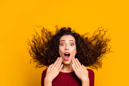 Close up photo amazing charming her she lady hair flight yelling loud funky run running black friday shopping wearing red knitted sweater clothes outfit isolated yellow bright background Banco de Imagens - 118003515
