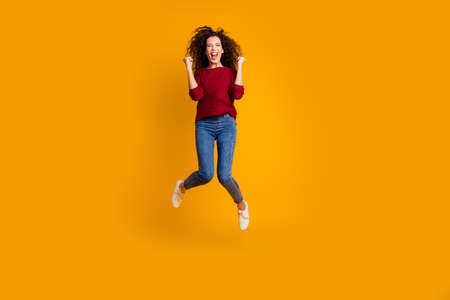 Full length body size view of her she nice crazy attractive cheerful cheery glad funny ecstatic slim thin fit wavy-haired lady satisfaction isolated on bright vivid shine orange background