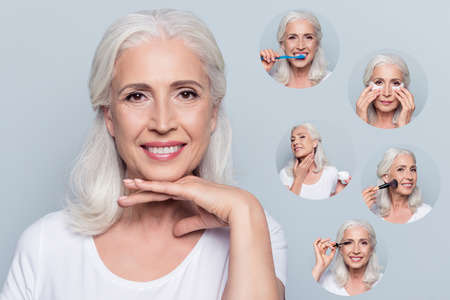 Close-up portrait of nice charming old woman holding hand under chin clean clear skin beaming smile different salon house everyday procedure with natural makeup isolated over gray pastel background
