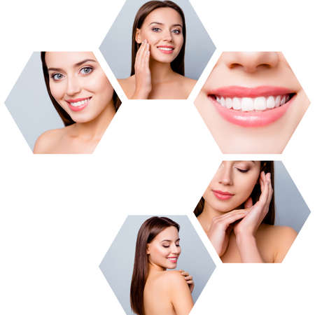 Collage close-up cropped view of five hexagonal attractive dreamy naked nude lady effective useful facial procedure touching soft smooth clean clear shine pampering isolated over blue gray background