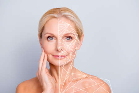Portrait pretty attractive charming she her woman touching her perfect skin after peeling lotion mask hydration highlighted facial parts lines sketch isolated grey background