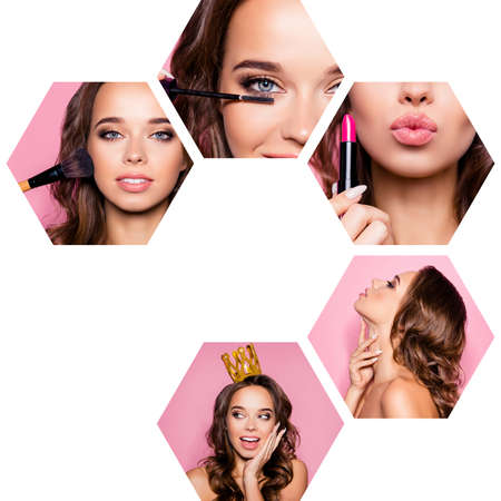 Collage close-up cropped view of five hexagonal nice-looking attractive gorgeous glamorous magnificent wavy-haired lady doing make-up tell gossip isolated over pink background Stock Photo