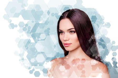 Wellbeing and wellness beauty and health concept. Coseup photo pretty she her young brunette woman looking fresh healthy attractive isolated grey white blue background