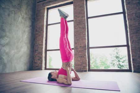 Profile side view of her she nice attractive sportive thin perfect shape line slender form lady wearing pink clothes top doing plank raising bum legs straight up in modern loft industrial interior