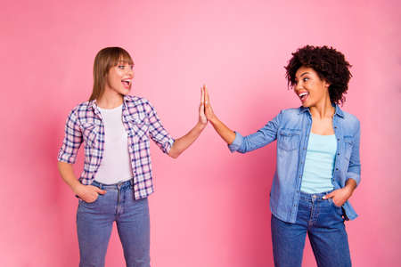 Close up photo two cheer diversity she her ladies different race skin hold clap arms amazed glad great company wear casual jeans denim checkered shirt clothes outfit isolated pink background.