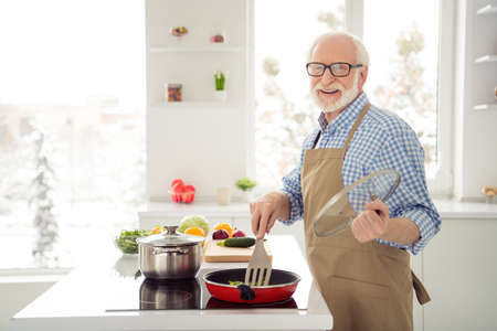 Close up photo grey haired he his him grandpa cook frying boiling busy delicious dish process leisure rejoice enjoy favorite stuff wear specs casual checkered plaid shirt jeans denim outfit kitchen