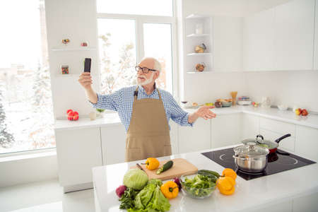 Close up photo grey haired he his him grandpa hands telephone smart phone make take pictures process cooking followers wear specs casual checkered plaid shirt jeans denim outfit kitchen
