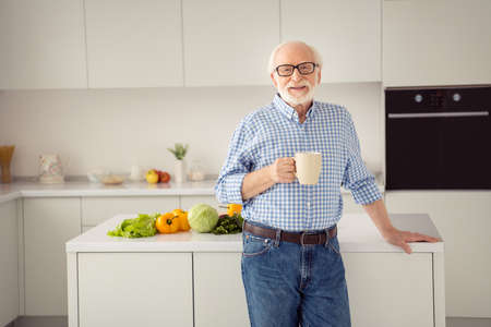 Close up portrait cheer grey haired he his him grandpa proud kitchen lean cooking table hot beverage hands arms  wear specs casual checkered plaid shirt jeans denim outfit stand light flat room