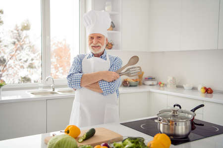 Close up photo grey haired he his him grandpa tv show lessons lectures study courses cook masterpiece with me wear baker costume casual checkered plaid shirt jeans denim outfit modern kitchen
