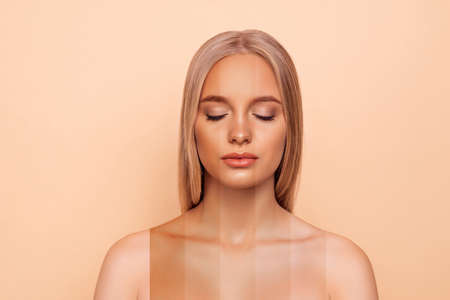 Close-up portrait of nice attractive blonde lady with pure perfect flawless smooth soft shine skin different color parts closed eyes bronze blusher isolated over pastel gray background
