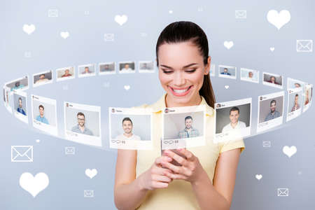 Close up photo user persone she her lady telephone share repost like click letters page many friends illustration pictures guys dating site futuristic creative design isolated grey background