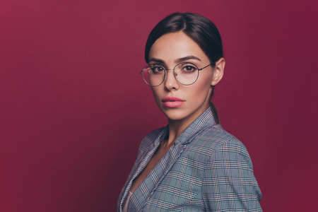 Close up side profile photo beautiful amazing business she her lady just started career resourceful financier attorney investor wearing specs formalwear isolated dark red vivid background Standard-Bild - 119452123