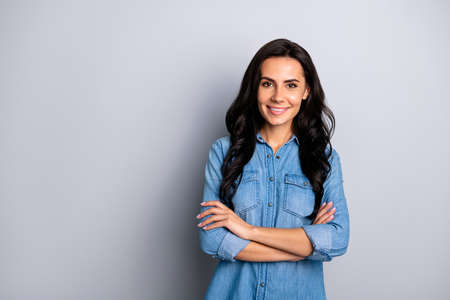 Close up photo amazing attractive beautiful glad her she pretty lady long wave wealth hair styling shoulders white teeth wear casual jeans denim shirt clothes outfit isolated grey background