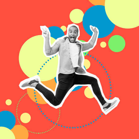 Portrait crazy funky he his him guy jump futuristic stylized illustration design casual shirt jeans denim painted into grey isolated different colored circles red yellow blue drawing background Archivio Fotografico