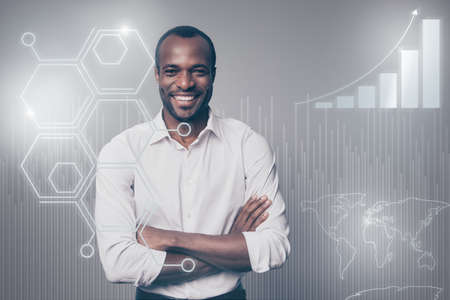Close up virtual effected stylized graphic photo he him his mulatto guy glad introduce social marketing trading futuristic pattern new startup navigation system wear shirt isolated grey background Stok Fotoğraf - 119456204